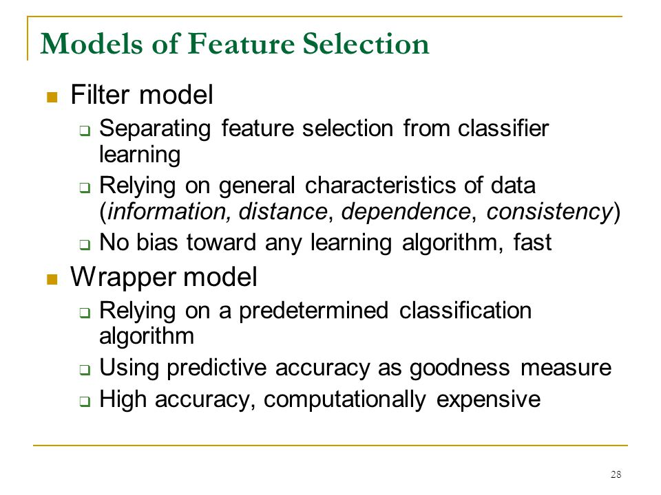 Models of Feature Selection