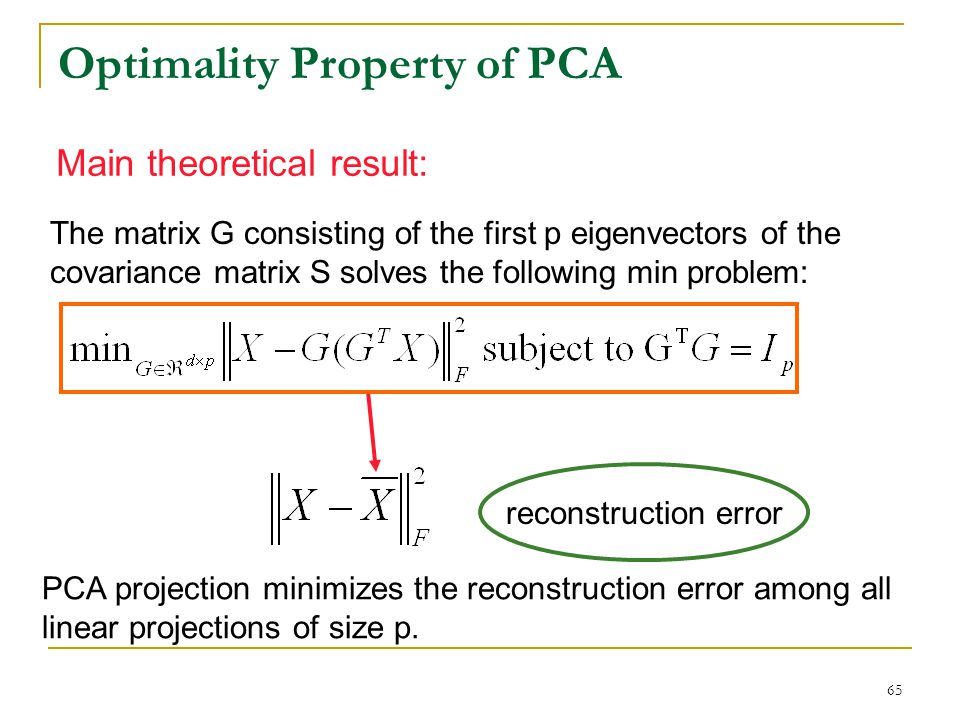 Optimality Property of PCA