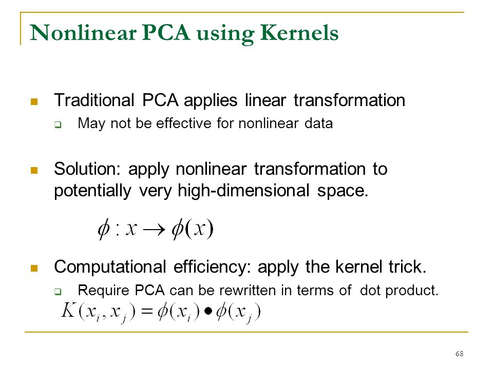 Nonlinear PCA using Kernels
