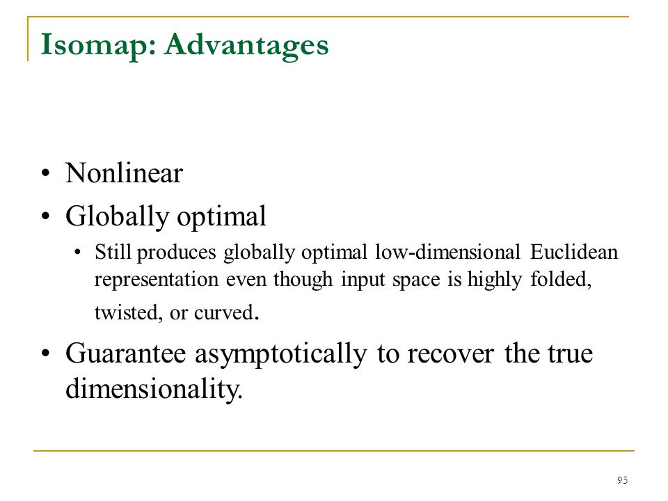 Isomap: Advantages Nonlinear Globally optimal