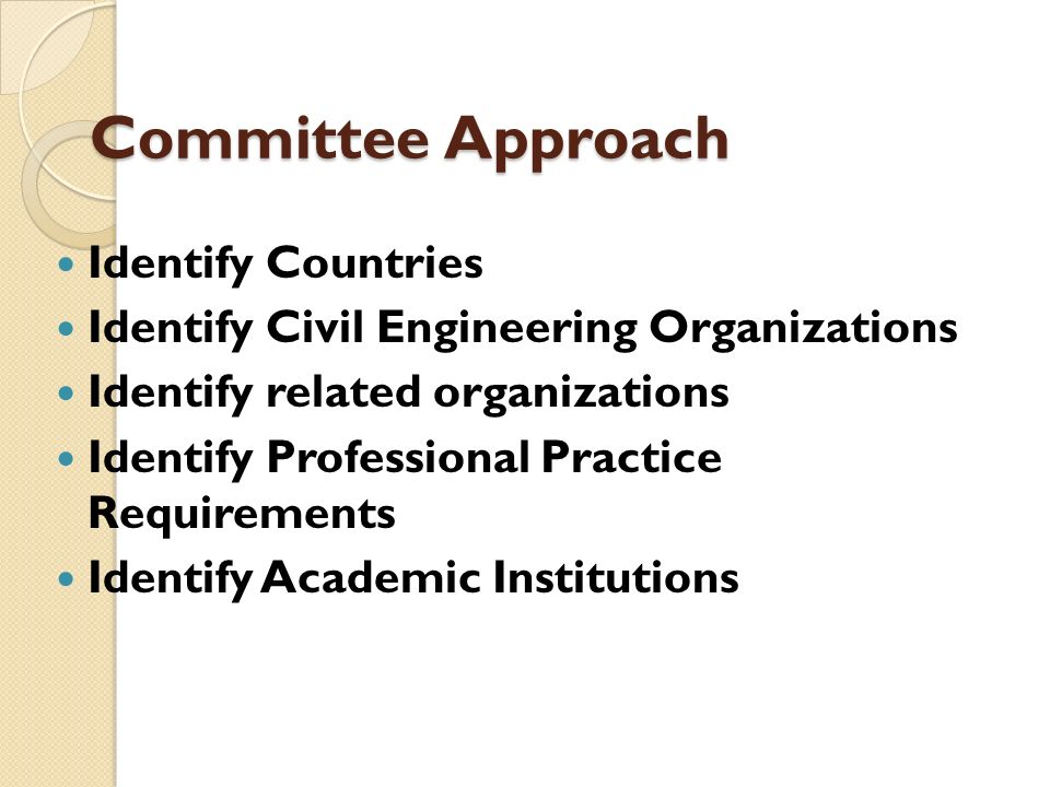 Committee Approach Identify Countries