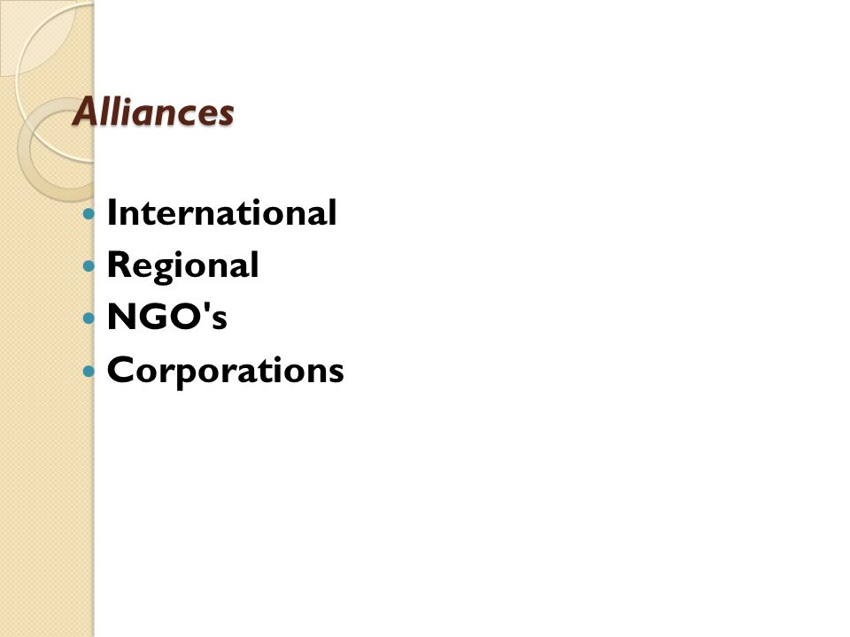 Alliances International Regional NGO s Corporations