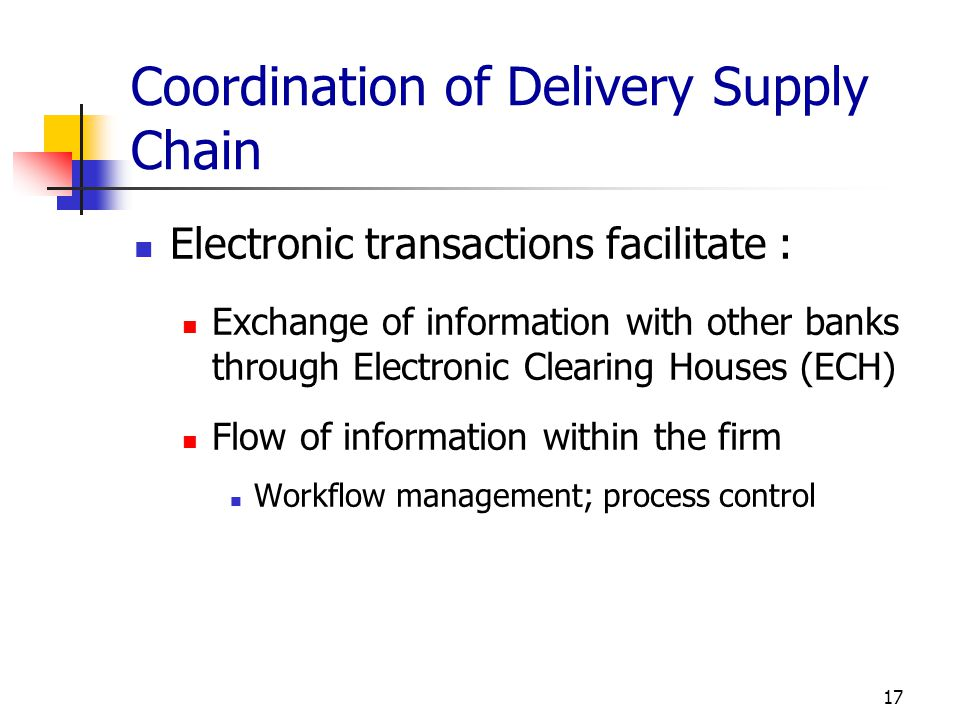 Coordination of Delivery Supply Chain