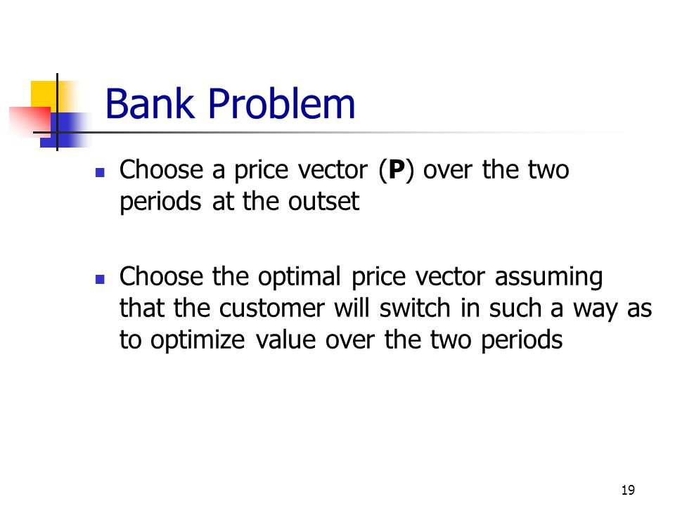 Bank Problem Choose a price vector (P) over the two periods at the outset.