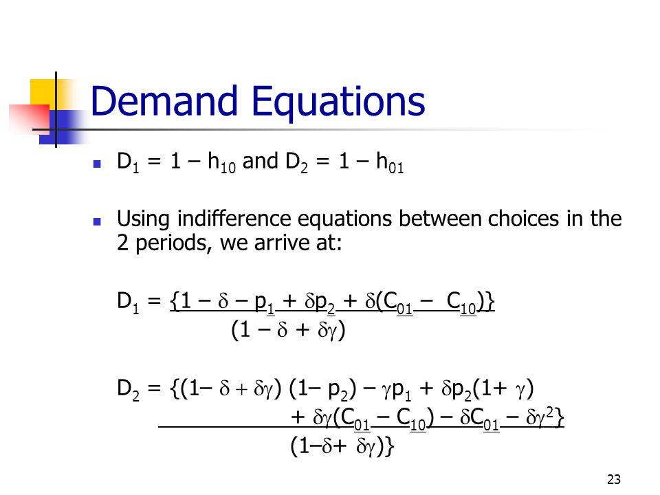 Demand Equations D1 = 1 – h10 and D2 = 1 – h01