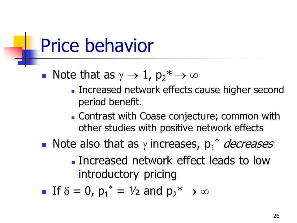 Price behavior Note that as g  1, p2*  