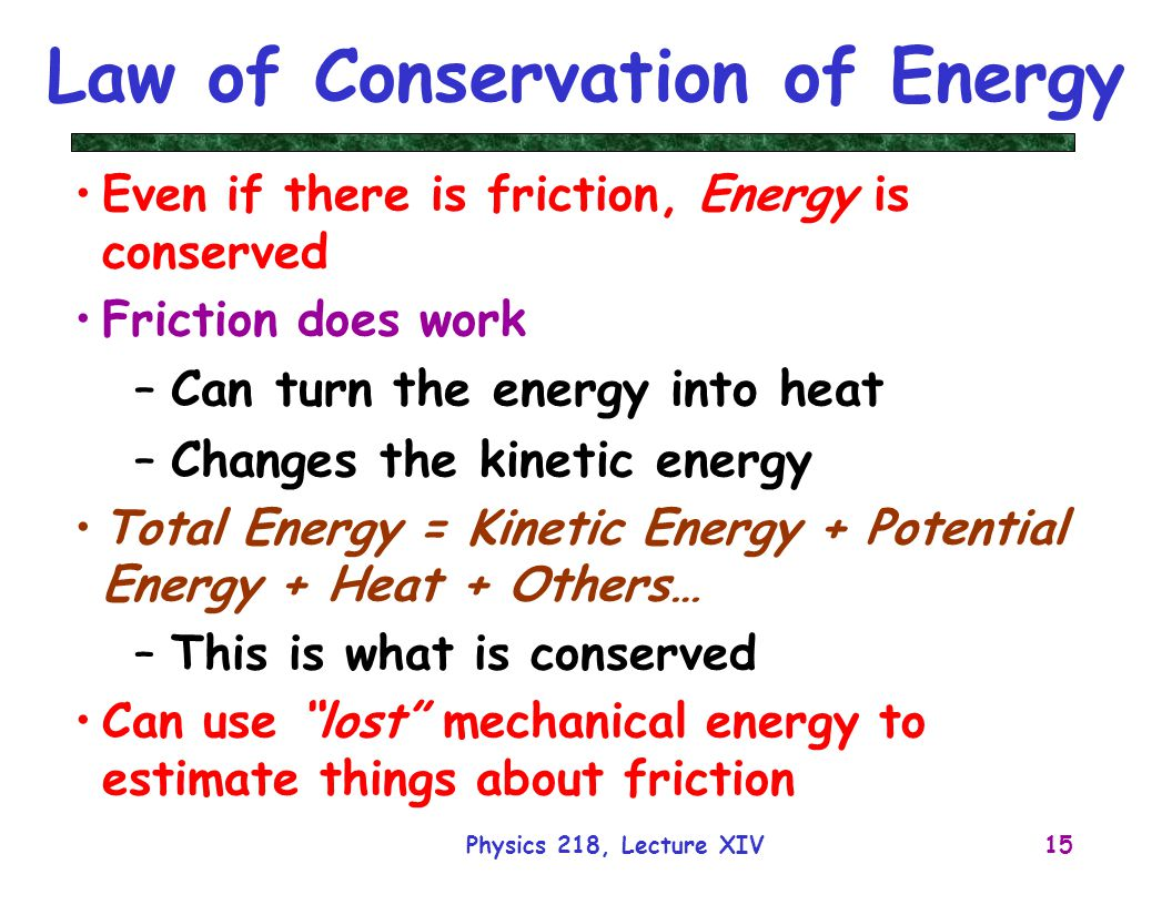 law of conservation of energy Here are some examples on conservation of matter and energy: when a chemical energy gets converted to kinetic energy,  conservation law of matter conservation energy.