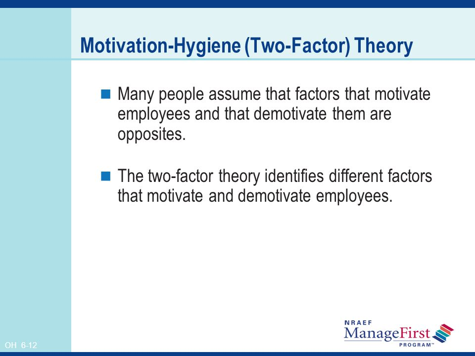 factors for motivating employees You have examined two of the theories of motivation to develop your  people  will be motivated by a range of factors and these are different for everyone.