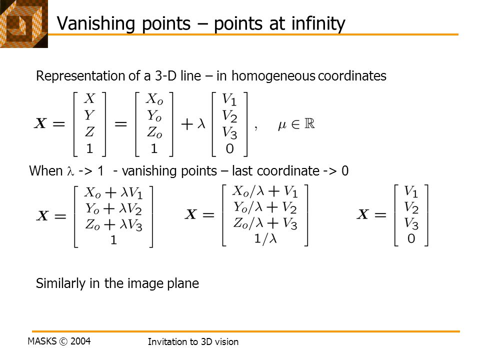 Vanishing points – points at infinity