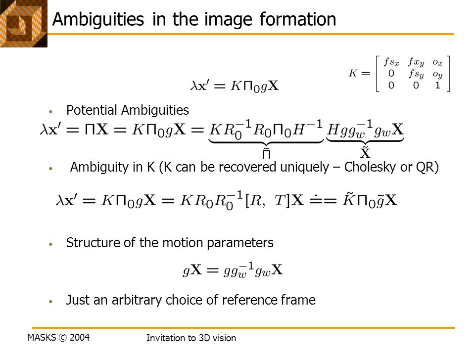 Ambiguities in the image formation