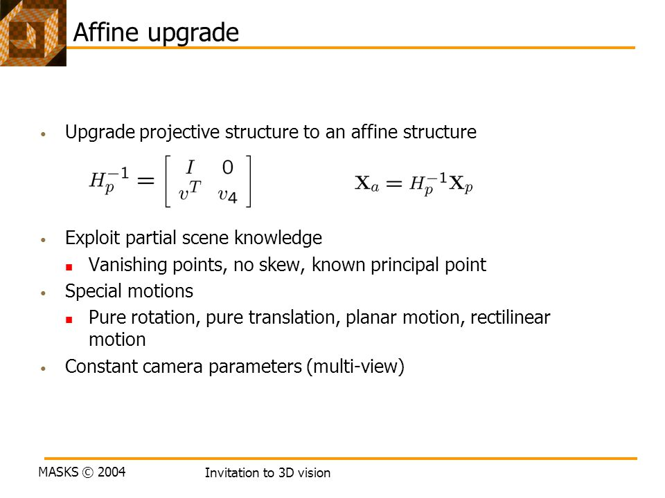 Affine upgrade Upgrade projective structure to an affine structure