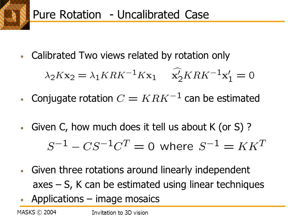 Pure Rotation - Uncalibrated Case