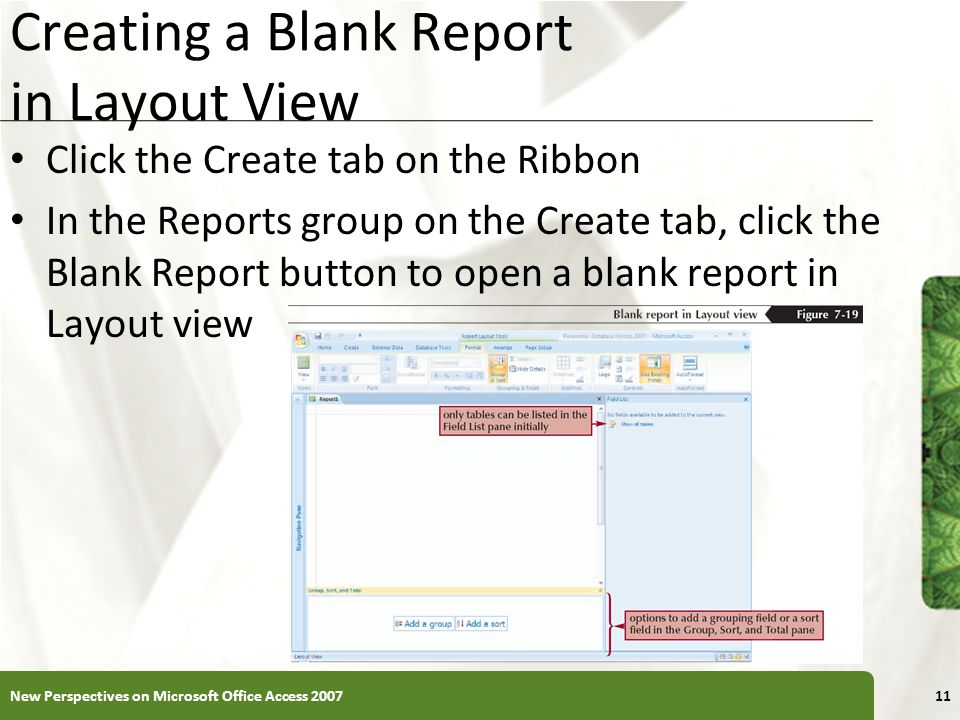 Creating a Blank Report in Layout View