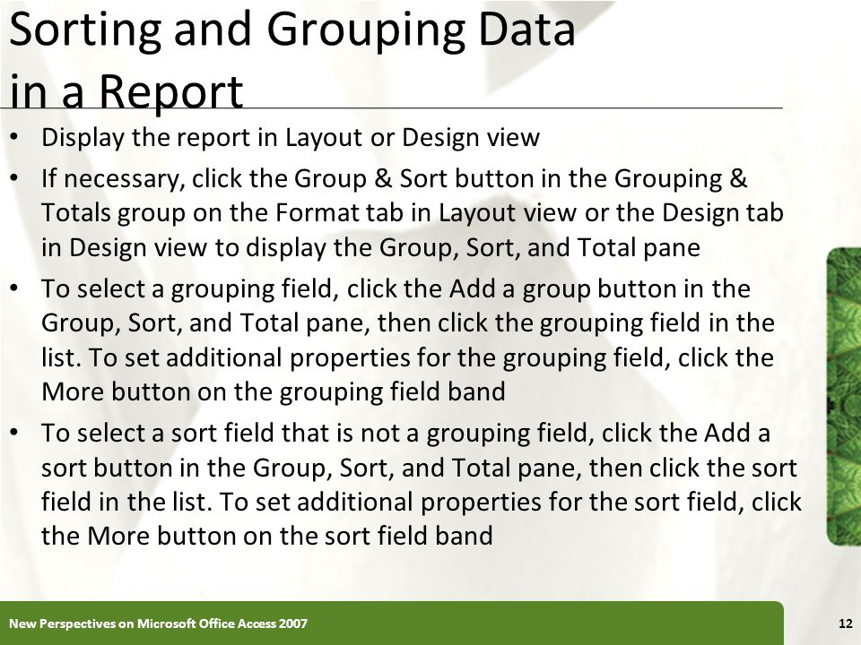 Sorting and Grouping Data in a Report