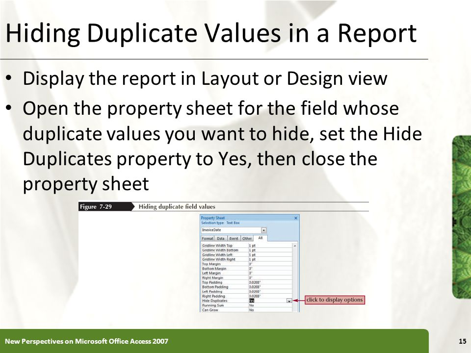 Hiding Duplicate Values in a Report