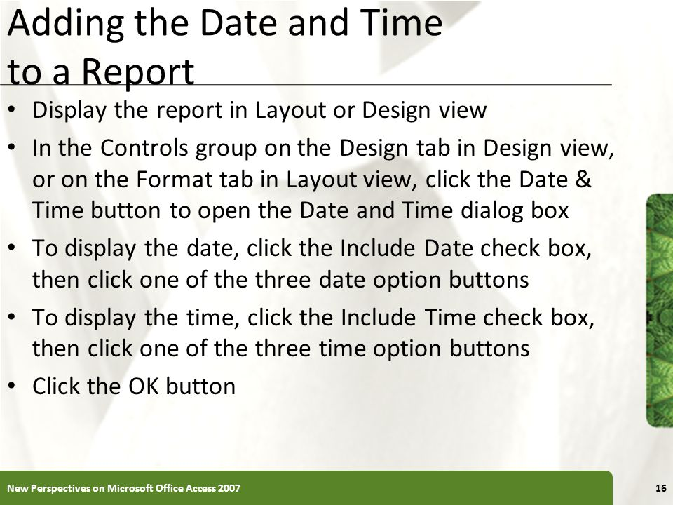 Adding the Date and Time to a Report