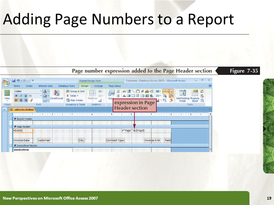 Adding Page Numbers to a Report