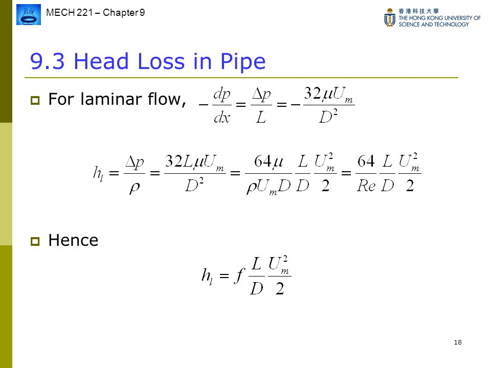 9.3 Head Loss in Pipe For laminar flow, Hence
