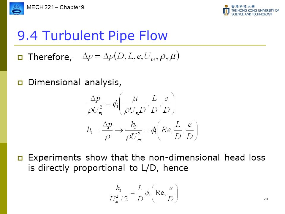 9.4 Turbulent Pipe Flow Therefore, Dimensional analysis,