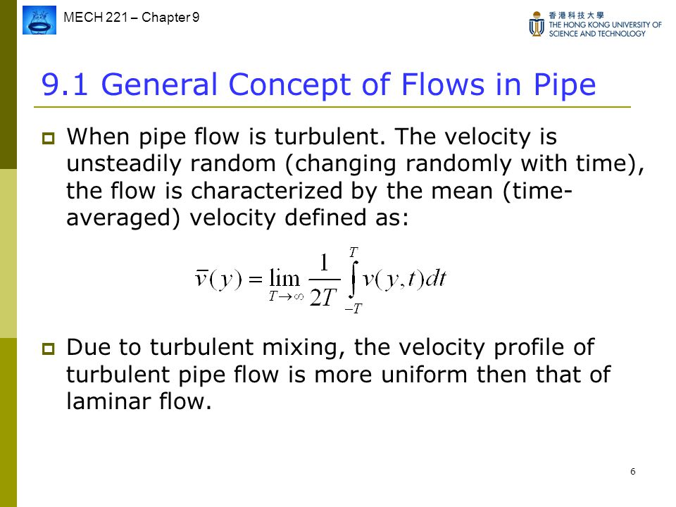 9.1 General Concept of Flows in Pipe