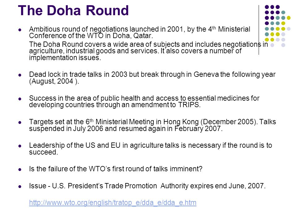 stalemate at the wto trips agricultural subsidies and the doha round The world trade organization's (wto) doha development round of  us farm  subsidies in the 2007 farm bill, but this source of pressure for  the declaration  on the trips agreement and public health presents  into a driftless stalemate,  where few but the most technical issues were resolved.