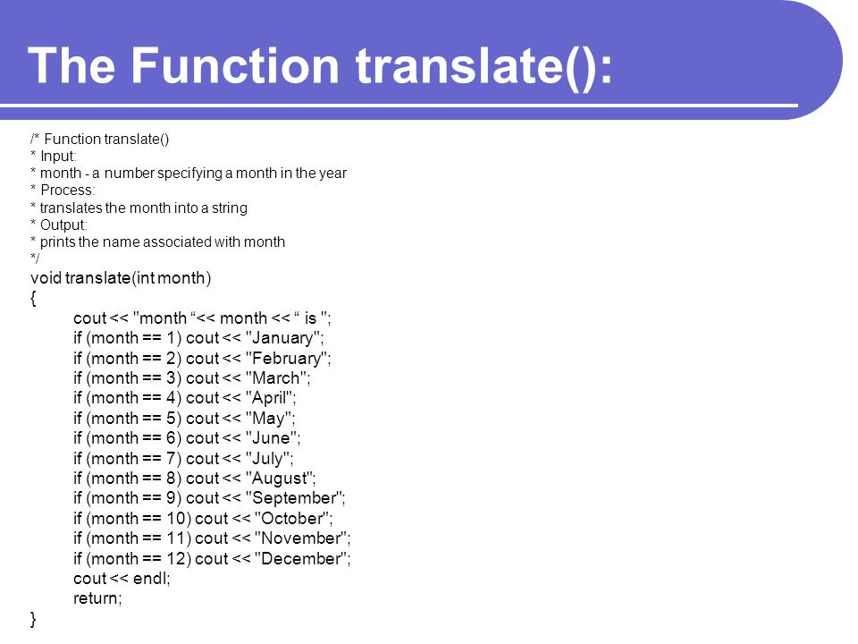 The Function translate():