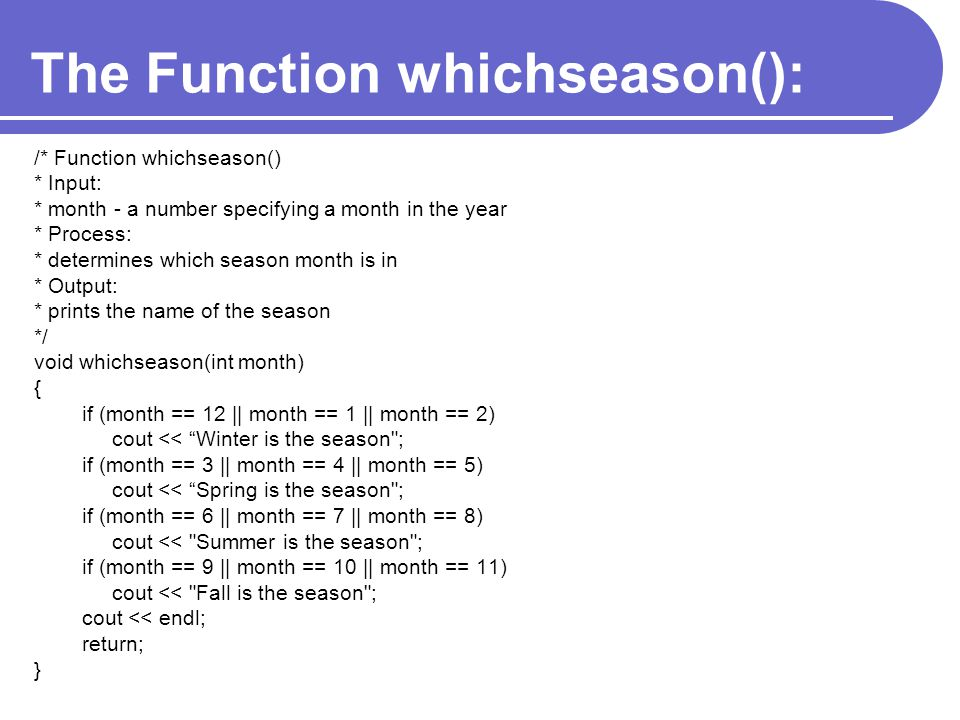 The Function whichseason():