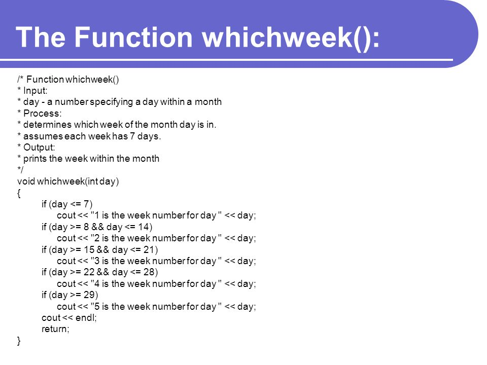 The Function whichweek():