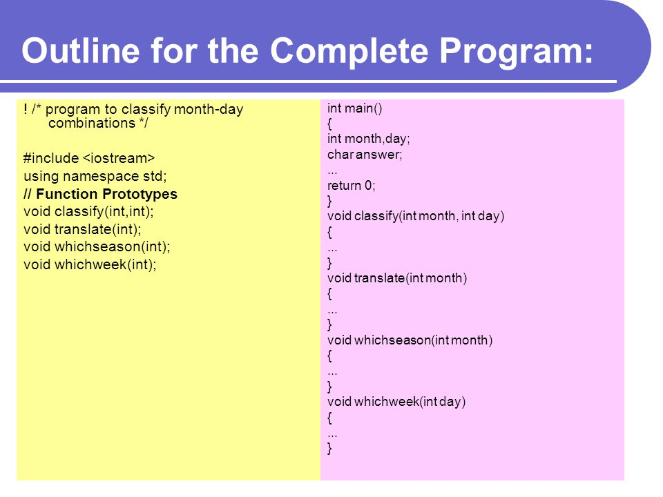 Outline for the Complete Program: