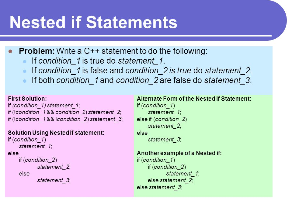 Nested if Statements Problem: Write a C++ statement to do the following: If condition_1 is true do statement_1.