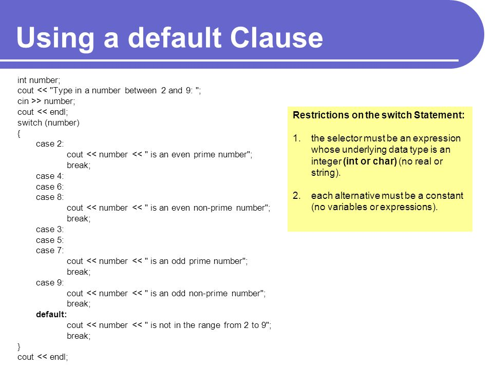 Using a default Clause Restrictions on the switch Statement: