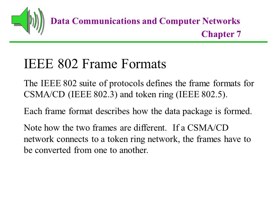 IEEE 802 Frame Formats Data Communications and Computer Networks