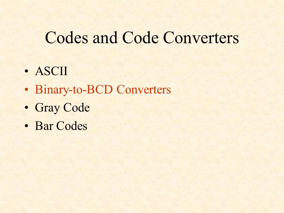 Codes and Code Converters