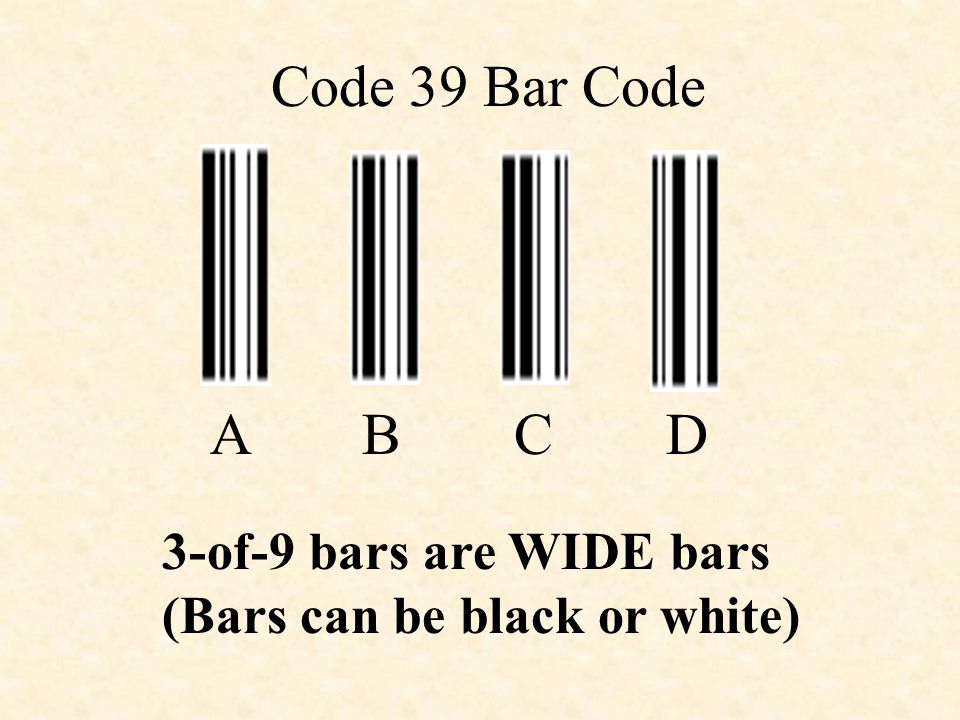 Code 39 Bar Code A B C D 3-of-9 bars are WIDE bars