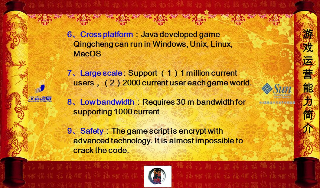 游 戏. 运. 营. 能. 力. 简. 介. 6、Cross platform:Java developed game Qingcheng can run in Windows, Unix, Linux, MacOS.