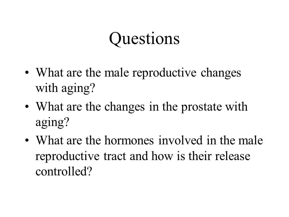 Questions What are the male reproductive changes with aging