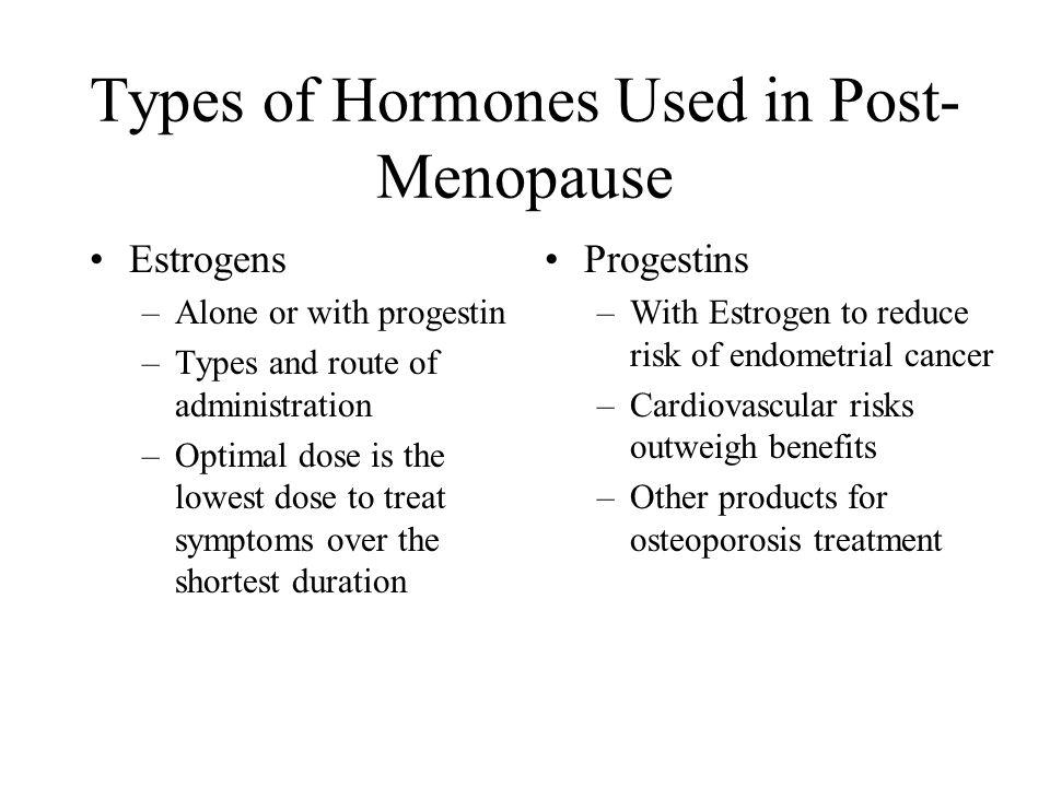 Types of Hormones Used in Post-Menopause