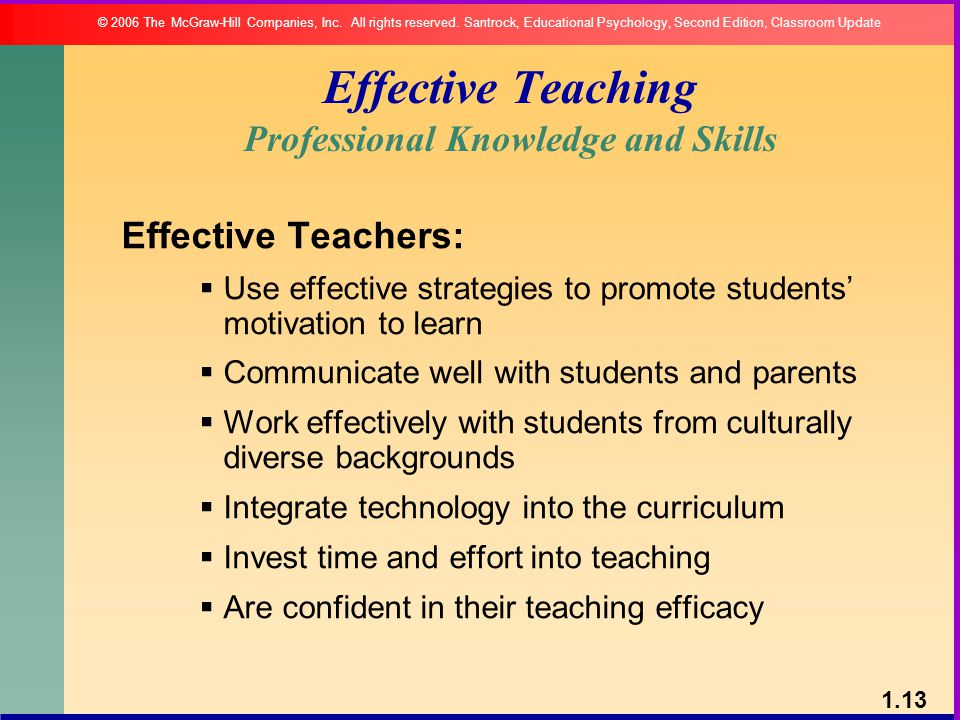 Effective Teaching Professional Knowledge and Skills