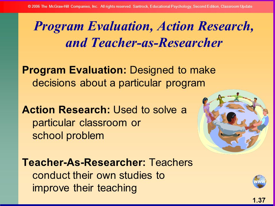 Program Evaluation, Action Research, and Teacher-as-Researcher