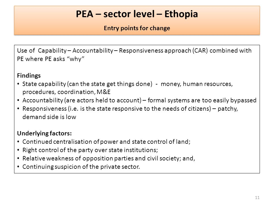 PEA – sector level – Ethopia Entry points for change