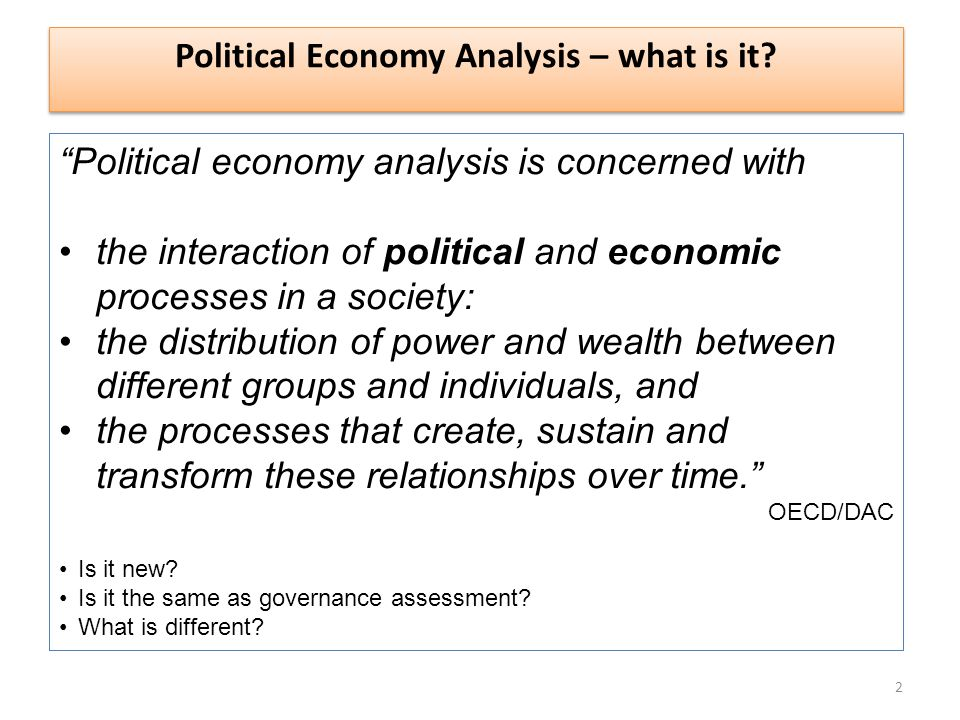 Political Economy Analysis – what is it