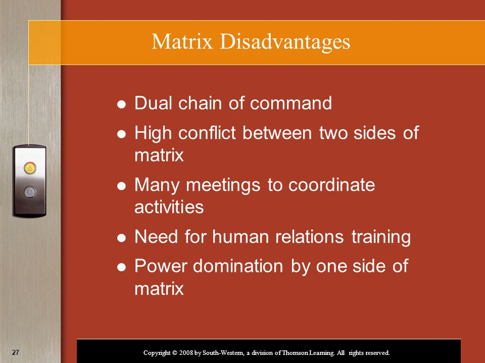 Matrix Disadvantages Dual chain of command