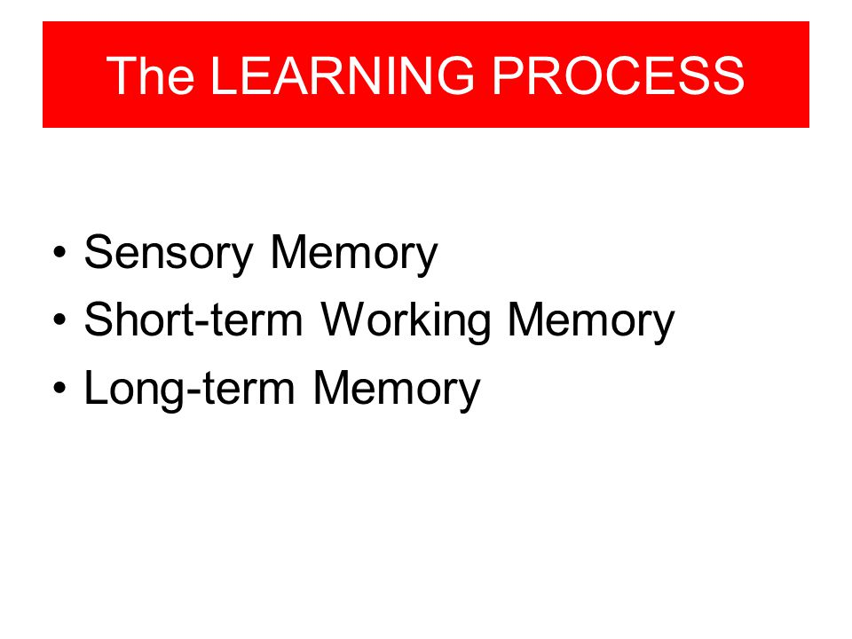 The LEARNING PROCESS Sensory Memory Short-term Working Memory