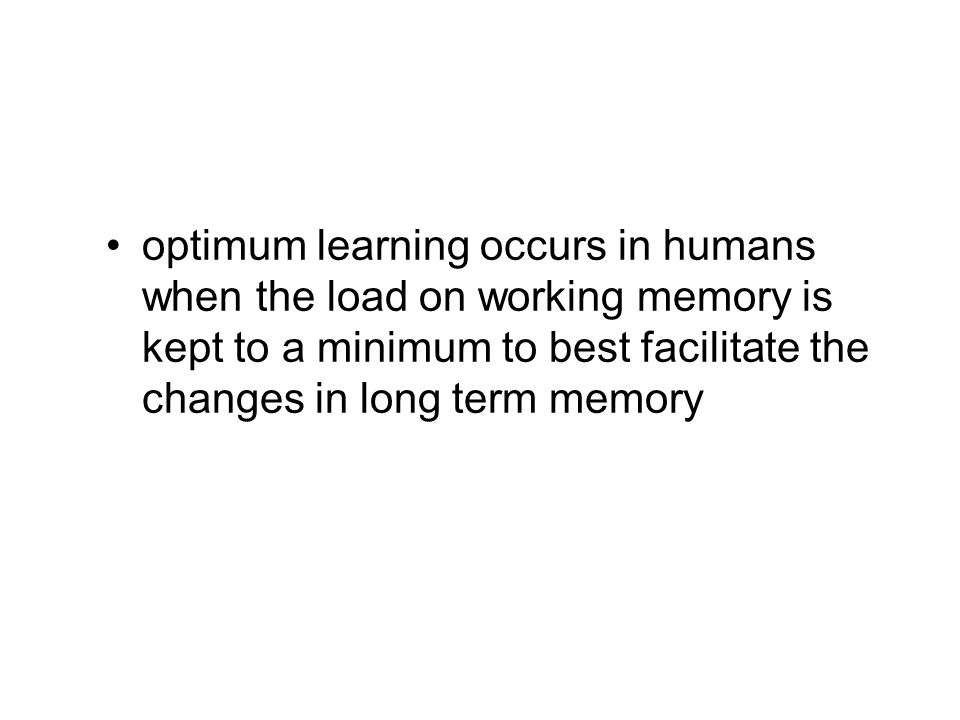 optimum learning occurs in humans when the load on working memory is kept to a minimum to best facilitate the changes in long term memory