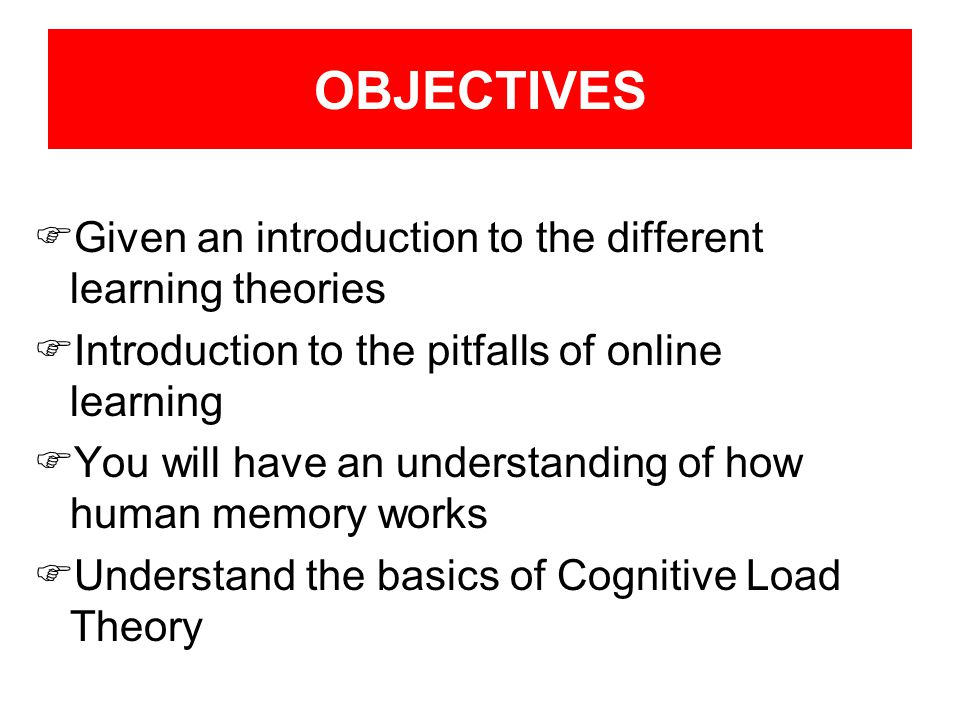 OBJECTIVES Given an introduction to the different learning theories