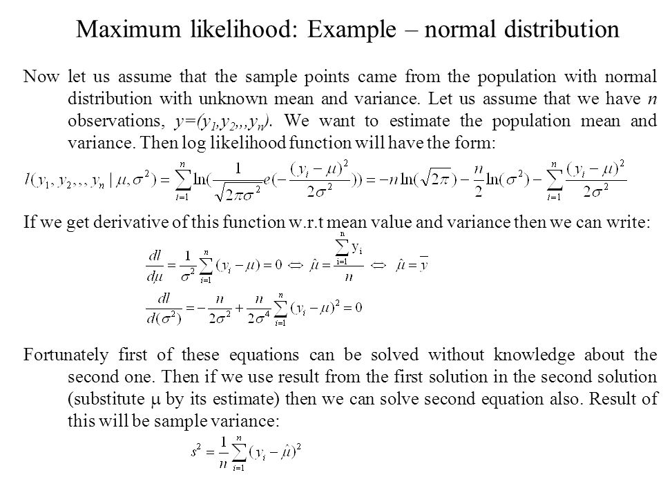 Maximum likelihood: Example – normal distribution