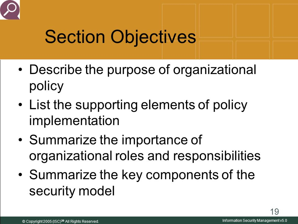 organizational policy Organizational policies serve as important forms of internal control look at a policy as a control mechanism that will effectively limit the behavior of some employees but not all employees.