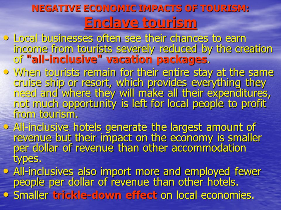 impacts of cruise tourism In this paper we describe the evolution of the cruise tourism industry and we analyze different impacts on tourism destinations of this segment of the travel industry the study includes the discussion of economic, social, environmental, cultural and political effects.