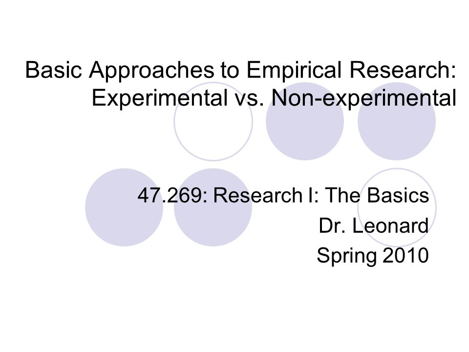 Introduction to Empirical Research - University of New Mexico