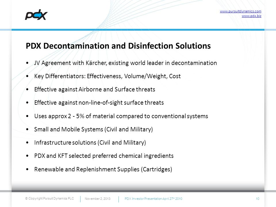 PDX Decontamination and Disinfection